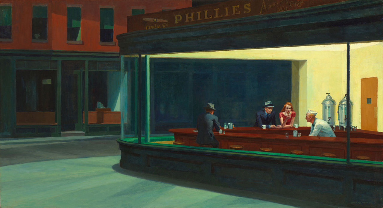 Edward Hopper's Nighthawks. A painting full of stories